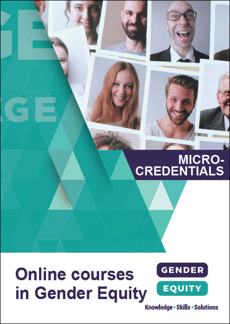 Online courses in gender equity: Microcredentials brochure cover image