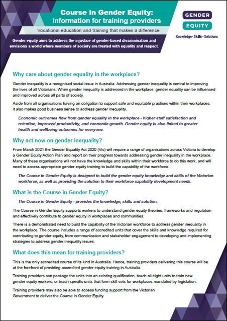 Course in Gender Equity: information for training providers cover image