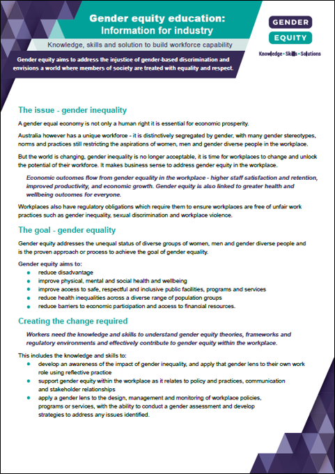Gender equity education: information for industry cover image