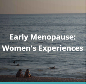 Picture for Early Menopause: Women's Experiences project. It is a photo of two women sitting on the beach looking out to calm seas.