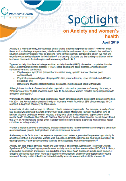 Spotlight on anxiety and women's health thumbnail image.