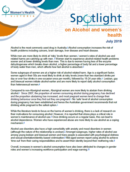 Picture of front page of the Spotlight on alcohol and women's health