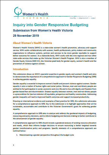 Submission to Inquiry Into Gender Responsive Budgeting cover image