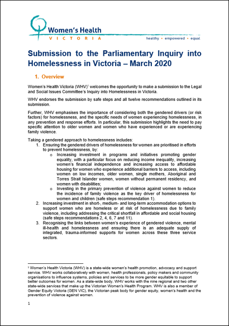 Submission to Parliamentary Inquiry into Homelessness in Victoria cover image