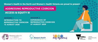 Image for Addressing reproductive coercion series- session info on teal background