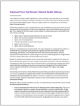Womens Mental Health Alliance statement image