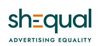 Logo of the brand shEqual. In the word 'shequal' is in a dark teal colour but the crosses of the capital 'E' in the middle is gold- like an equal sign